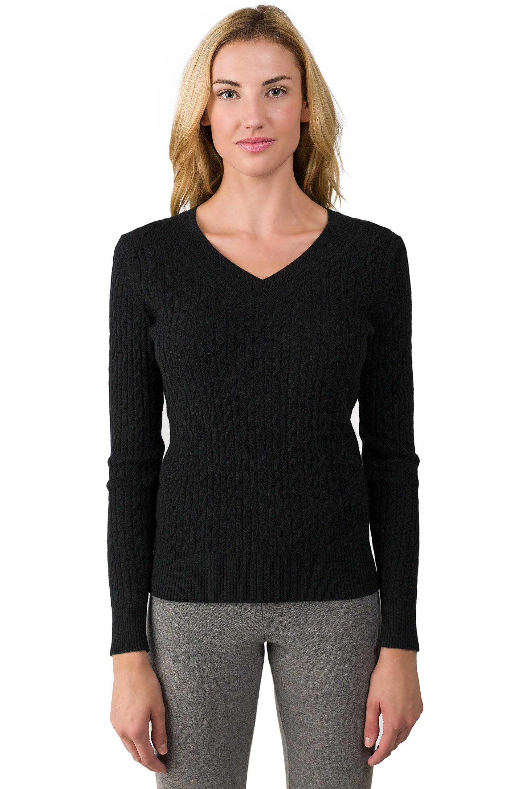 JENNIE LIU J Cashmere Women's 100% Cashmere Long Sleeve Pullover Cable-Knit V-Neck Sweater Black Large
