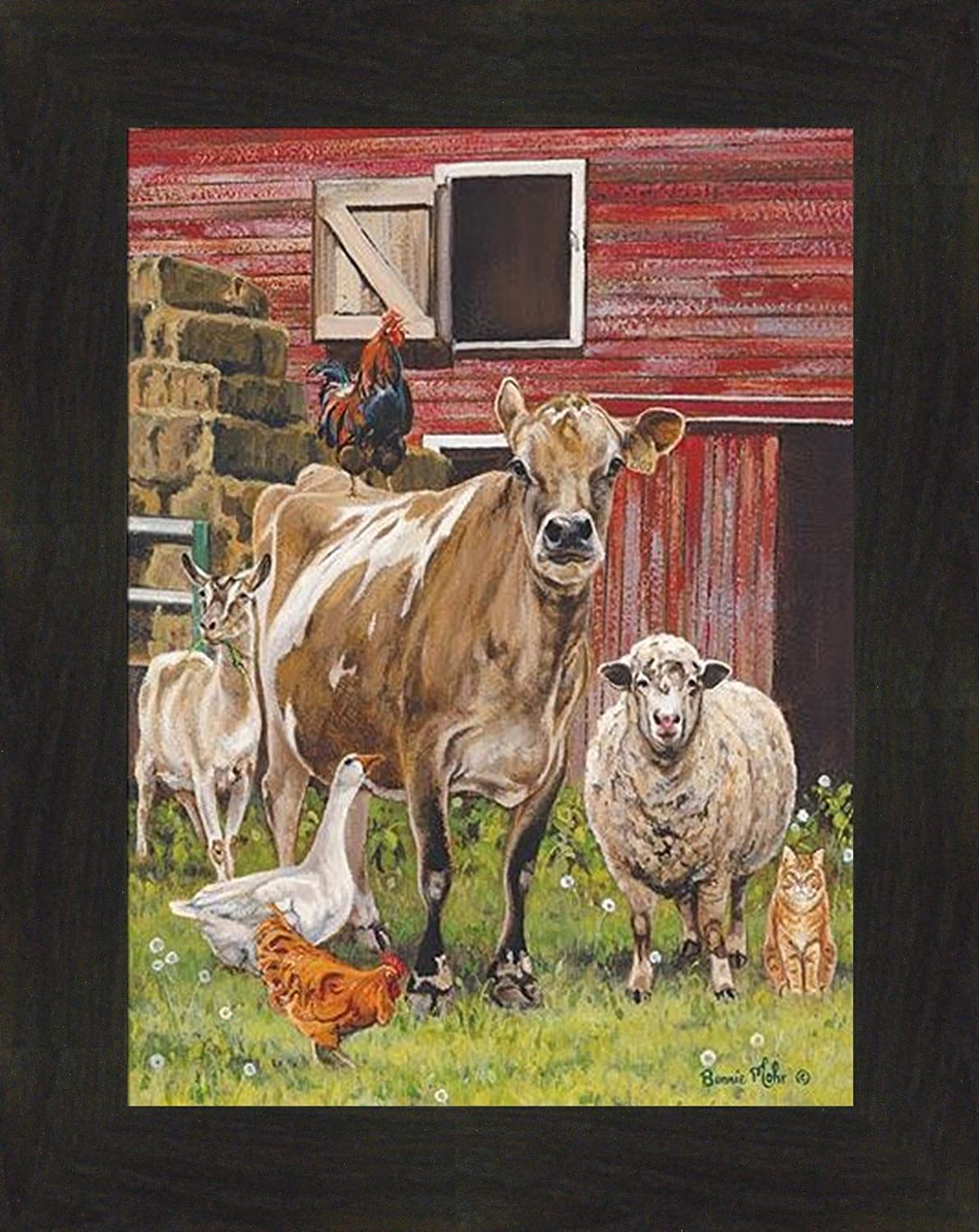 Barnyardigans by Bonnie Mohr 16x20 Farm Animals Cow Sheep Goat Chicken Goose Country Art Print Wall Décor Framed Picture (2