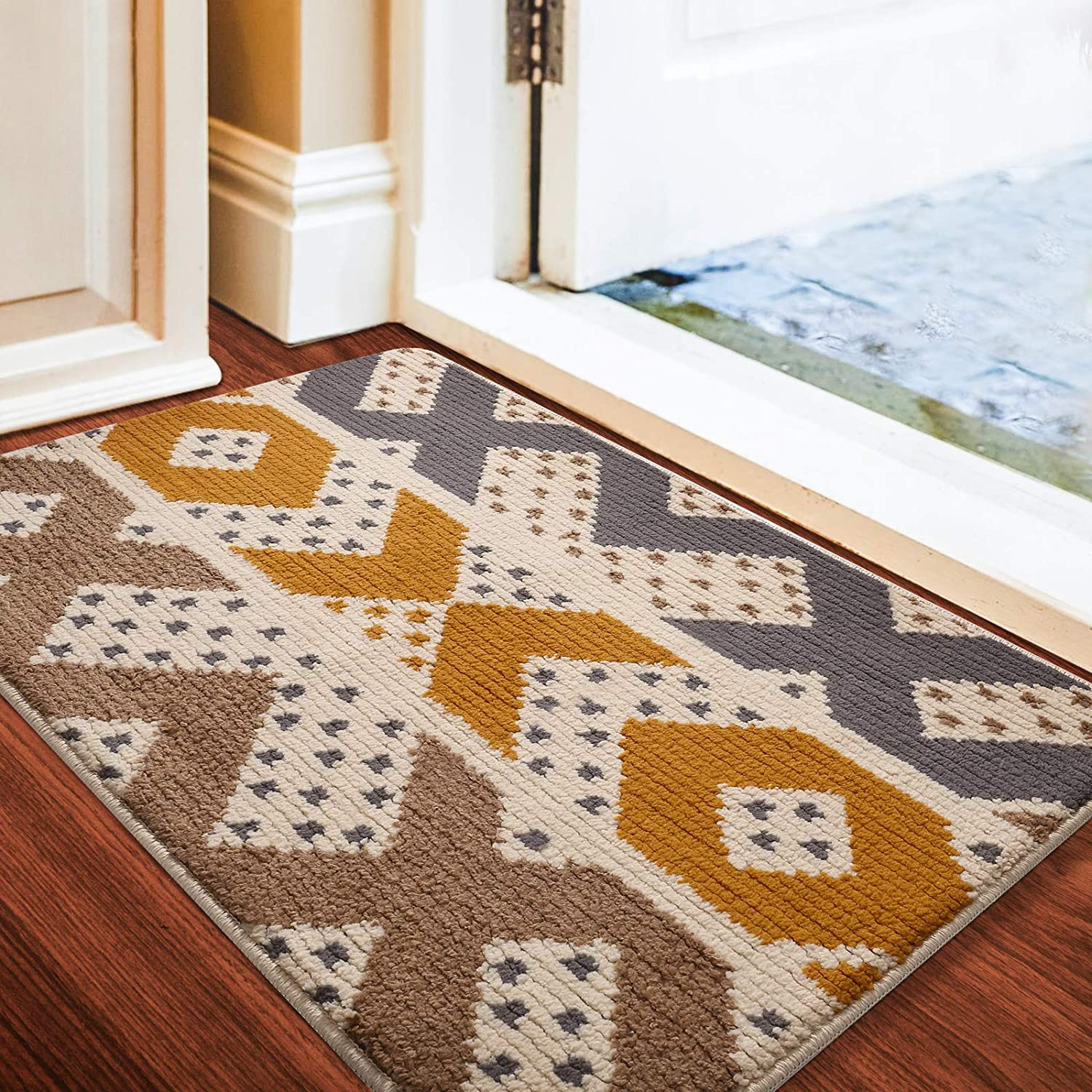 "Color&Geometry Indoor Doormat Front Door Mat 24""x36"" Waterproof, Non Slip Washable Quickly Absorb Moisture and Resist Dirt Rugs for Entrance"
