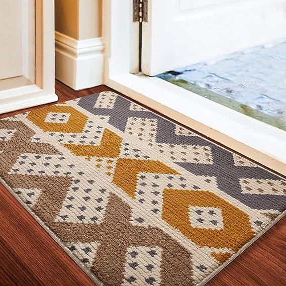 Small Spaghetti Coil Indoor or Sheltered Outdoor Door Mat Doormat in Grey