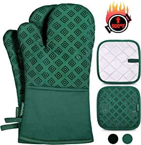 Homemaxs Oven Mitts and Pot Holders 4pcs Set, 500℉ Heat Resistant Non-Slip Food Grade Kitchen Mitten Silicone Cooking Gloves s for Kitchen, Cooking, Baking, BBQ-Green