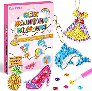 Karsspor 20 Pieces Big Gem Diamond Painting Kit, Diamond Painting Stickers Kits Art and Crafts for Kids Ages 4-12 to Create Your Own Stickers with Stickers, Gems and Keychain