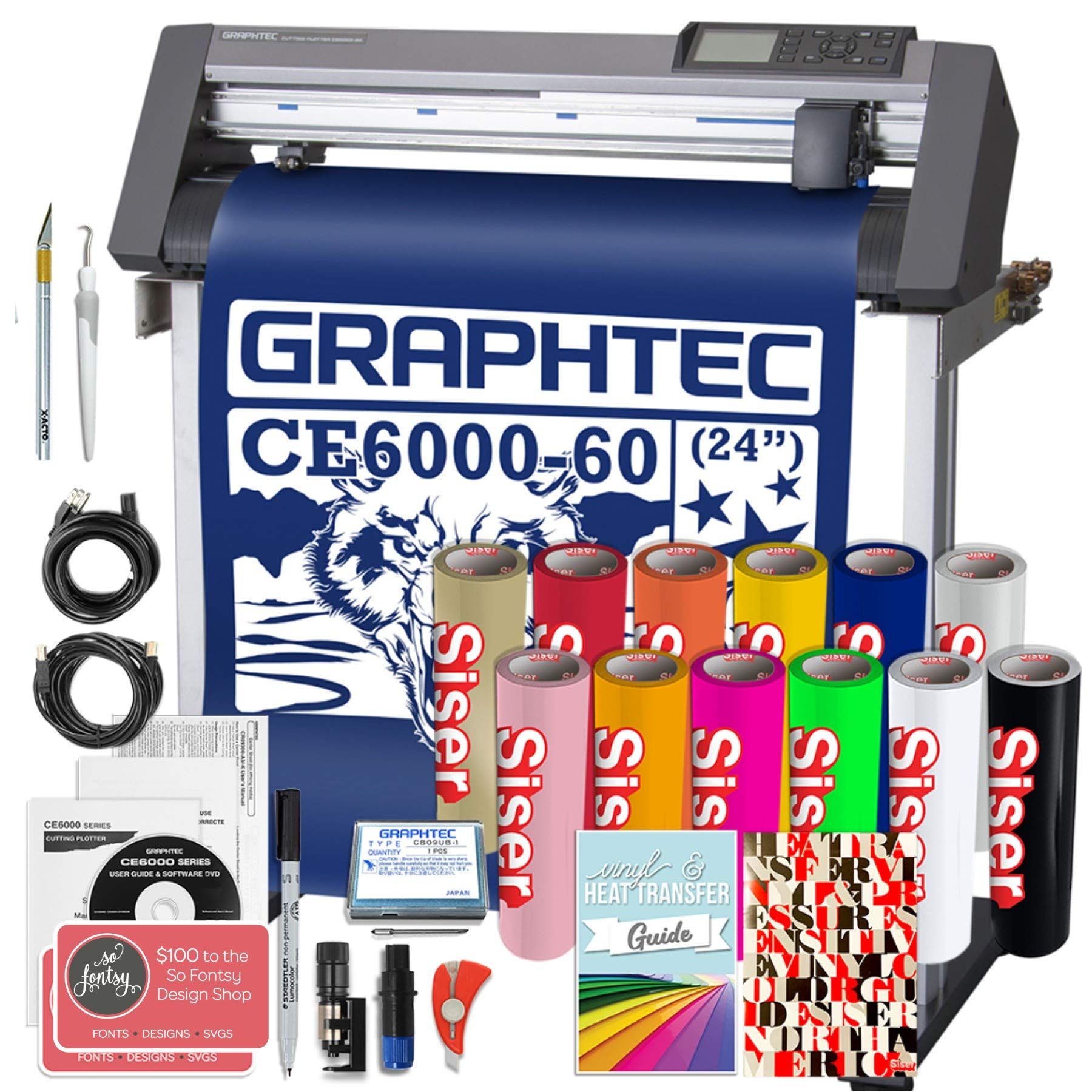 Graphtec Plus CE6000-60 24 Inch Professional Vinyl Cutter with Bonus $2100 in Software, Siser Easyweed HTV, and 2 Year Warranty