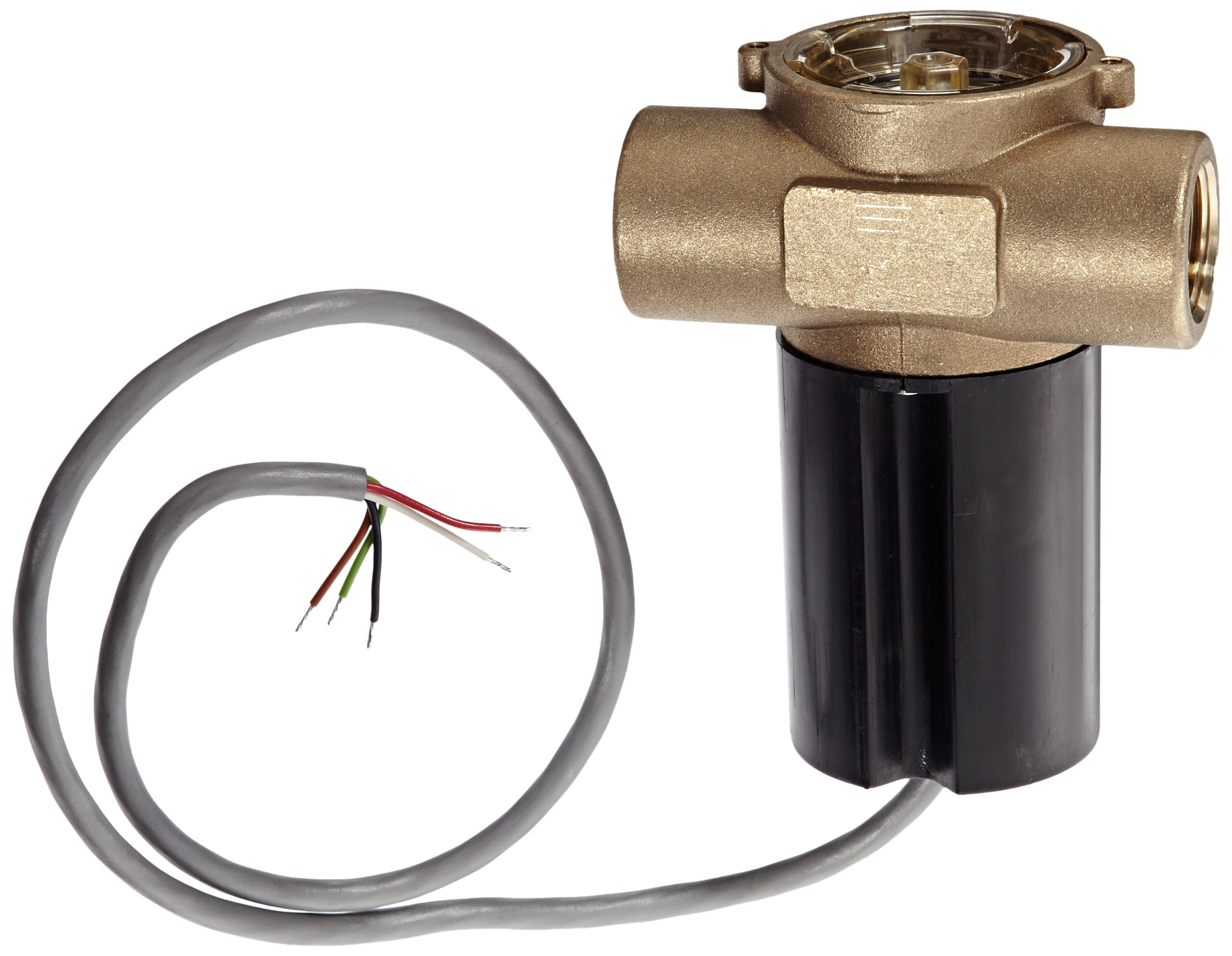 Gems Sensors RFS Series Brass Flow Sensor Switch, Inline, Rotor Type, 115 VAC Input, 5.0 - 30.0 gpm Flow Setting Adjustment Range, 3/4'' NPT Female