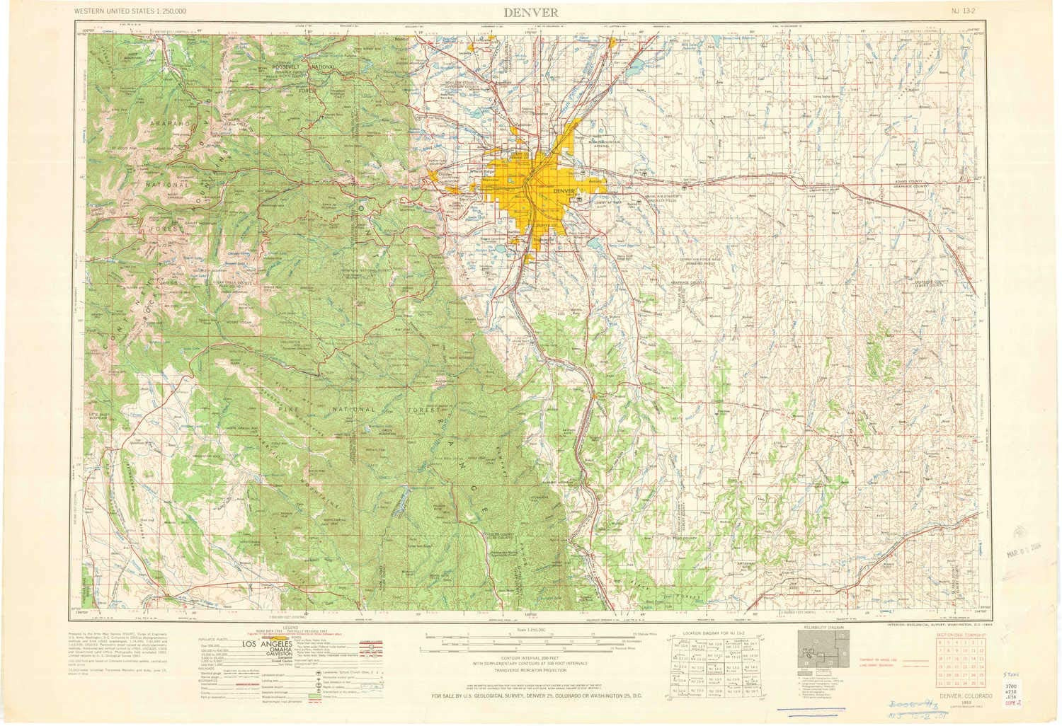 amazon com yellowmaps denver co topo map 1 250000 scale 1 x 2 degree historical 1953 updated 1964 22 1 x 32 3 in paper sports outdoors yellowmaps denver co topo map 1 250000 scale 1 x 2 degree historical 1953 updated 1964 22 1 x 32 3 in