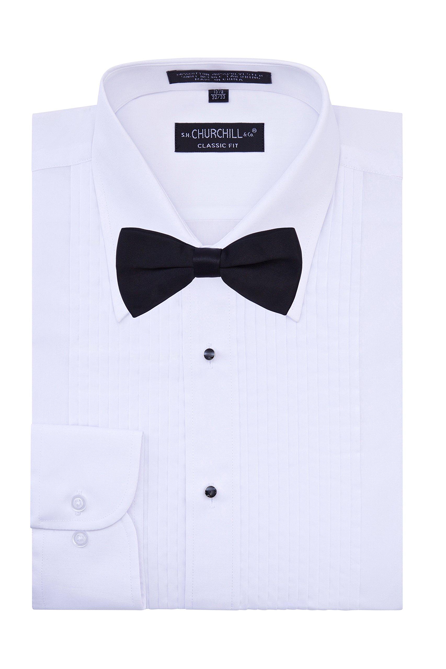 S.H. Churchill & Co. Men's Tuxedo Shirt with Black Bow Tie - Laydown Collar - Medium 34/35
