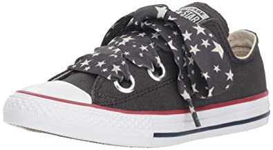 Converse Girls  Eyelet Star Lace Low Top Sneaker Almost  Black Driftwood White 3.5 79e664319