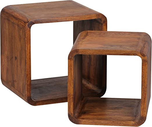 WOHNLING wl1.541 Madera Sheesham Juego de Mesa Auxiliar Mesa Juego de 2 Cubes Cubo de 43 x 43 x 36 cm, Natural: Amazon.es: Hogar