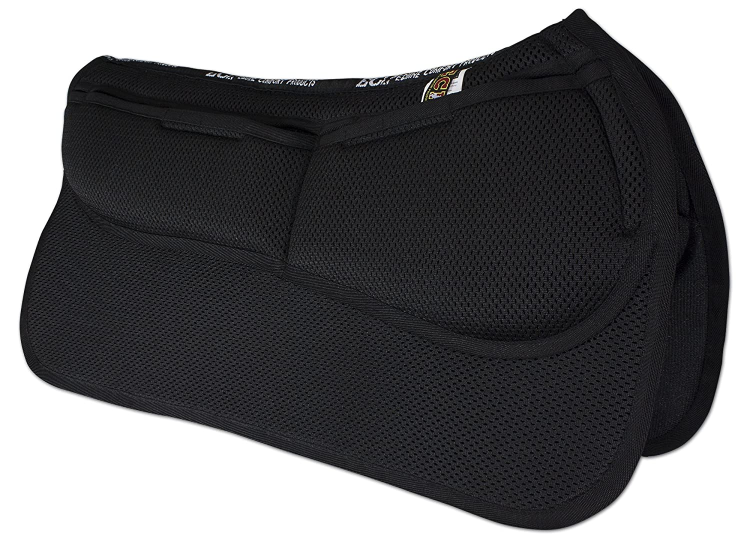 ECP 3D Mesh Western Saddle Pad All Purpose Diamond Quilted Cotton Therapeutic Contoured Correction Support Memory Foam Pockets for Riding