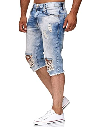 exquisiter Stil feinste Auswahl Leistungssportbekleidung Red Bridge Herren Jeans Short Kurze Hose 3/4 Destroyed Denim Blau