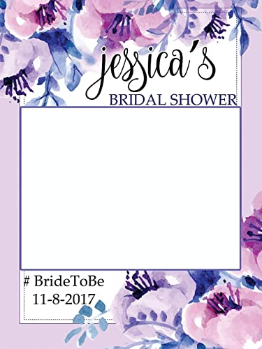 custom floral bridal shower photo booth frame sizes 36x24 48x36 personalized bridal shower