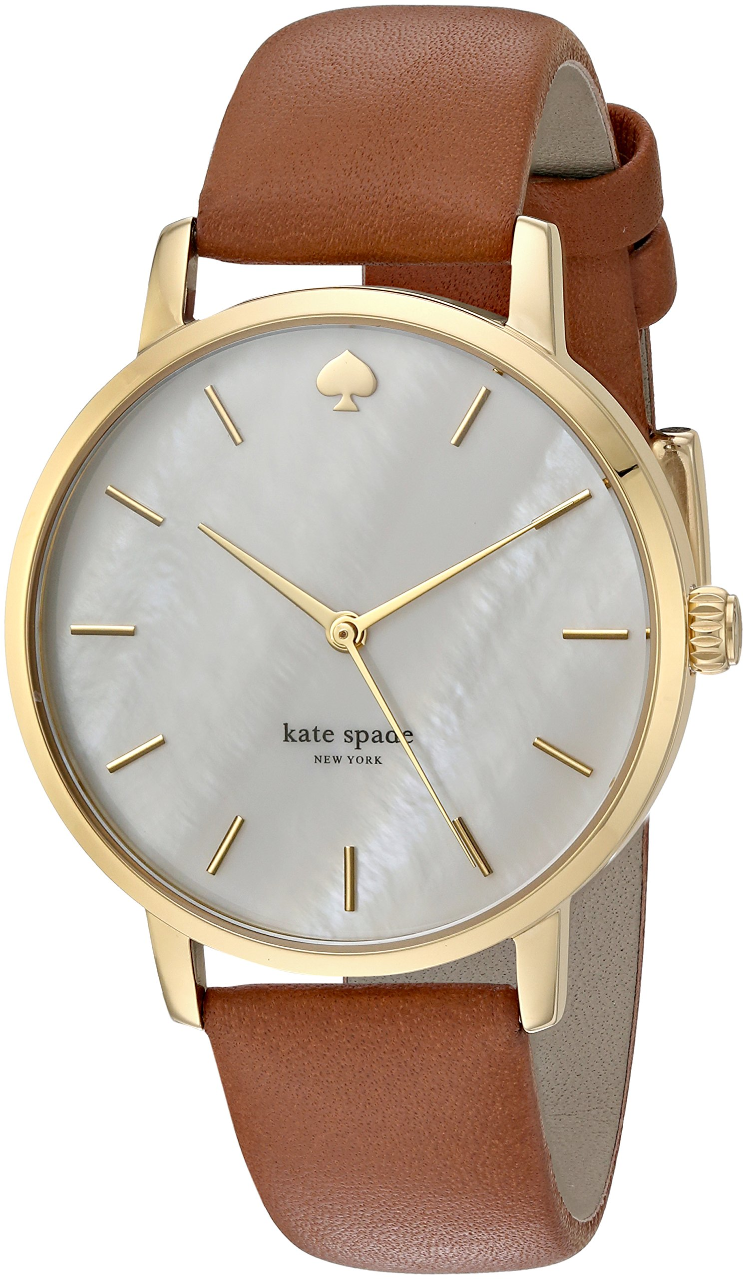 kate spade new york Women's 'Metro' Quartz Stainless Steel and Leather Casual Watch, Color:Brown (Model: KSW1142)