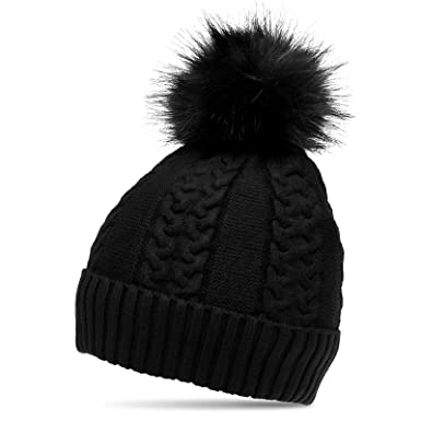 4b4c655f9ee CASPAR MU160 Women Winter Bobble Hat with Large Pom Pom Cuffed with Cable  Knit Design