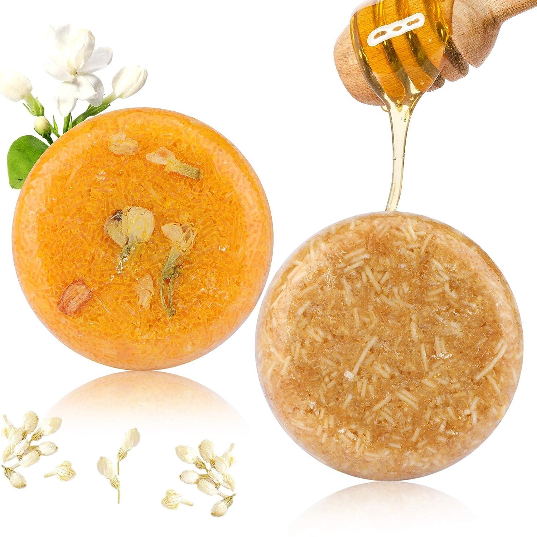 2PCS Barre de Shampooing, Phogary Savon pour cheveux (Jasmin + miel) Divers parfums Shampooing pour essences végétales 100% naturel pour cheveux secs et abîmés - Aide à arrêter la perte de cheveux et favorise la croissance des cheveux sains