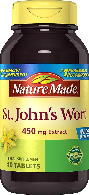 Amazon.com: Nature Made St. John\'s Wort 450 mg. Tablets 40 Ct ...