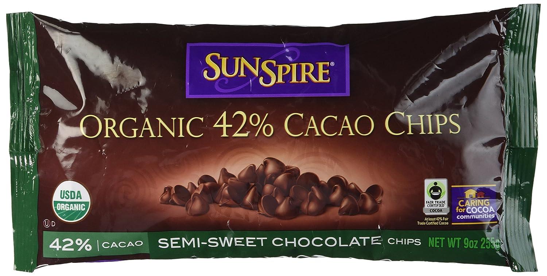 Amazon.com : SunSpire Organic Fair Trade 42% Cacao Semi-Sweet ...