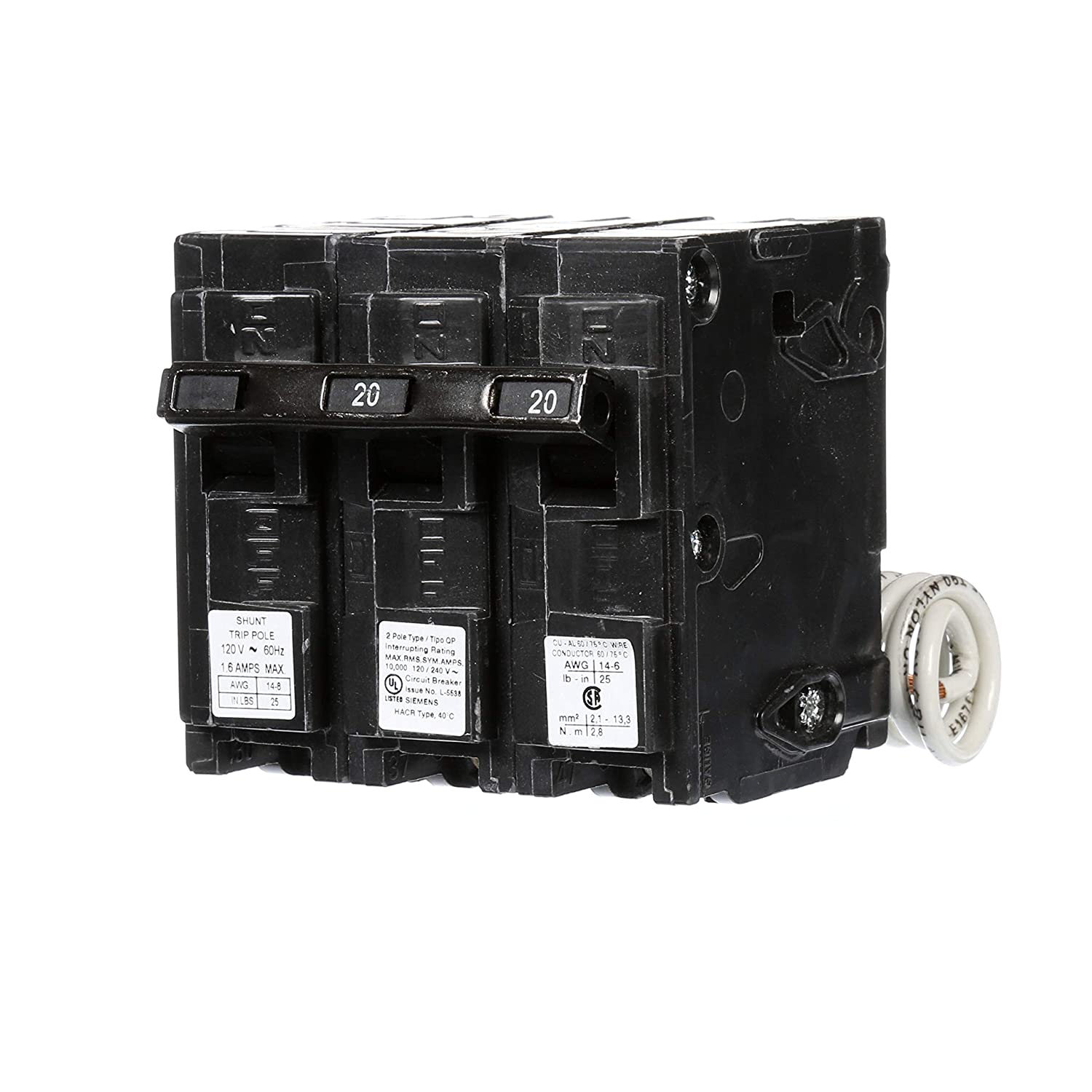 Siemens Q22000s01 120240 Volt Type Mp T 20 Amp Circuit Breaker With