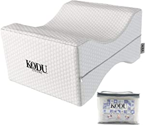 Kodu Living Orthopedic Memory Foam Knee Pillow for Sciatica Relief, Back Pain, Leg Pain, Pregnancy, Hip and Joint Pain - Wedge Contour Leg Pillows for Sleeping