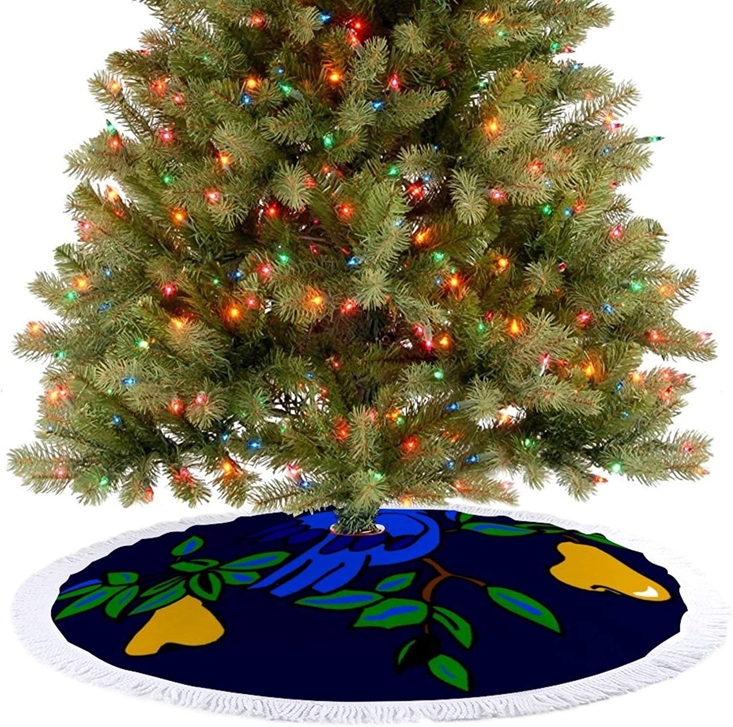Amidaky Partridge in A Pear Tree Christmas Tree Skirt for Christmas Holiday Party Decoration Indoor and Outdoor 36''×36''