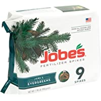 Jobe's Evergreen Fertilizer Spikes 11-3-4 Time Release Fertilizer for Juniper, Spruce, Cypress and All Other Evergreen Trees, 9 Spikes per Package