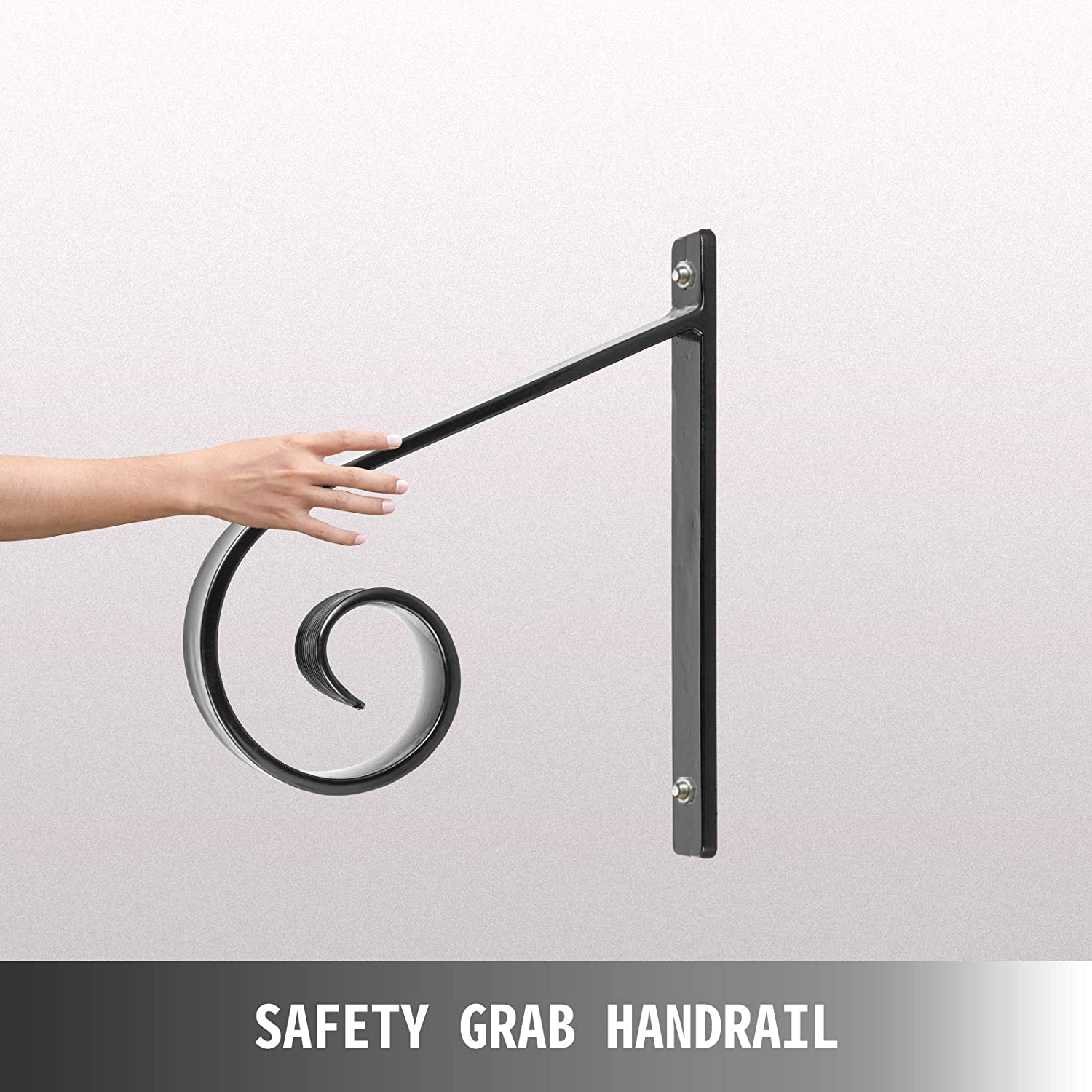 Happybuy Wrought Iron Handrail Wall Mounted Hand Railing 10L x 12H Inch Grab Support Bar Rail Porch Handrail Wrought Hand Rail Staircase Railing 1-2 Stairs Steps