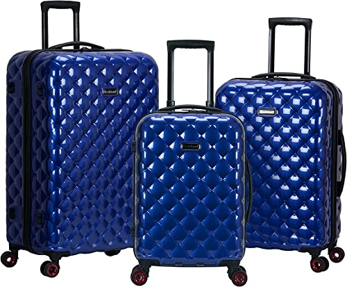 Rockland Quilt Hardside Expandable Spinner Wheel Luggage Set, Blue, 3-Piece 20 24 28