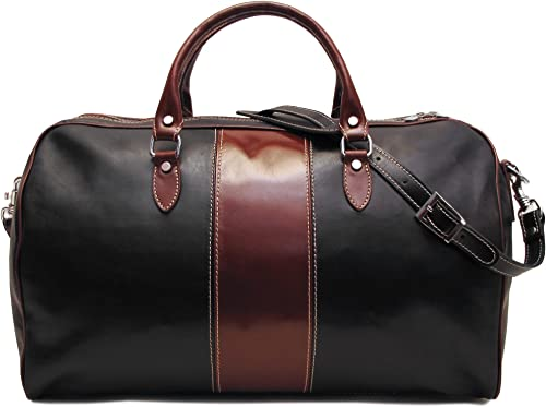 Floto Venezia Duffle Bag in Black and Brown Italian Calfskin Leather
