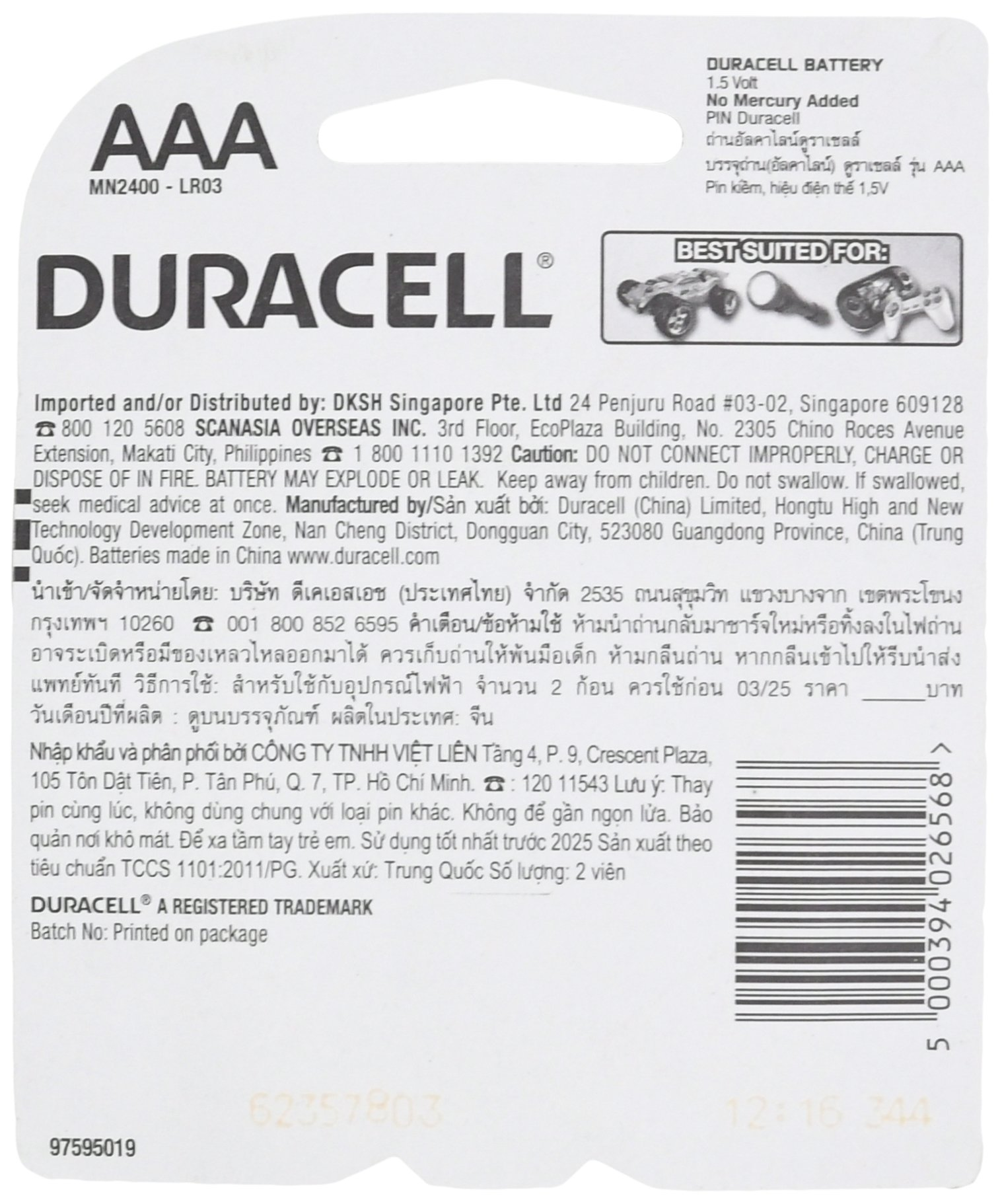 Duracell - CopperTop AAA Alkaline Batteries - long lasting, all-purpose Triple A battery for household and business - 2 count