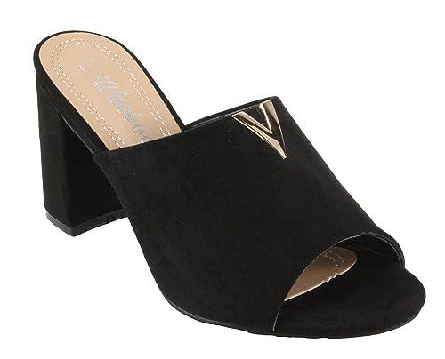 4c5007b4fad57 Amazon.com | Weeboo Women's Carlina-2 Faux Suede Mid Heel Mules ...