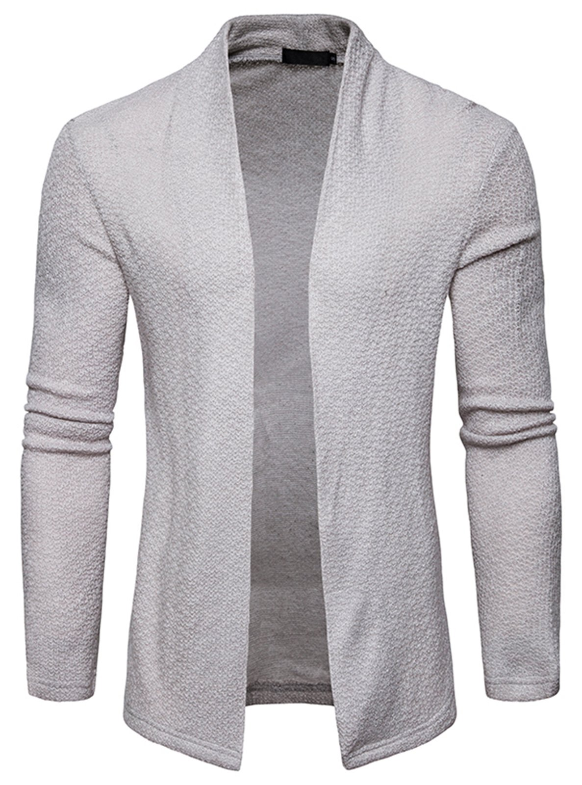 WHATLEES Mens Casual Long Sleeve Open Front Slim Fit Shawl Collar Cardigans Sweater B938-LightGray-XL