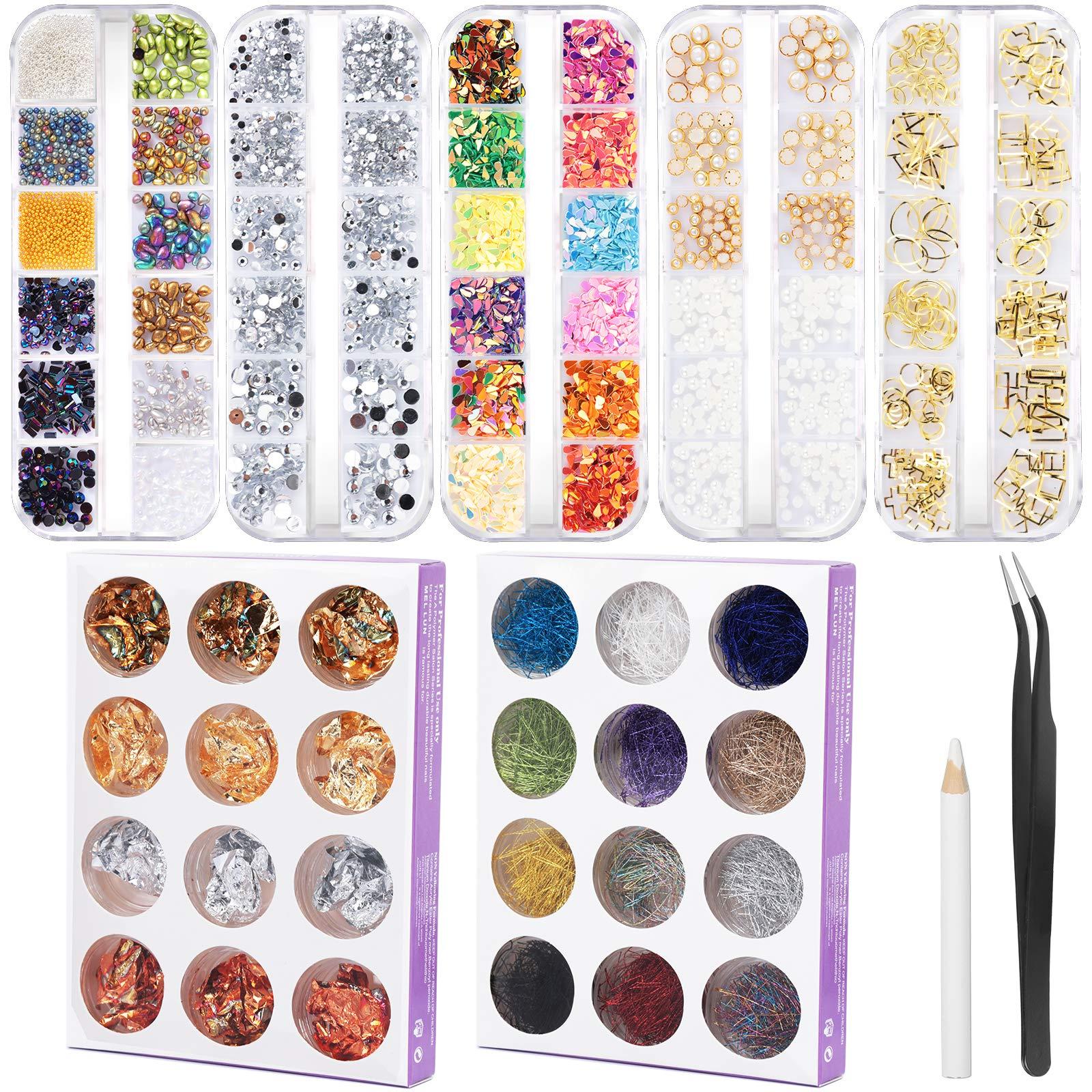 FANDAMEI Nail Art Kit with Nail Gems & Nail Foils - 5 Boxes Nail Decoration Accessories, 12 Boxes Nail Art Foils, 12 Boxes Nail Thread, Tweezer and Dotting Pen, Nail Rhinestones Crystal for Gel Nails