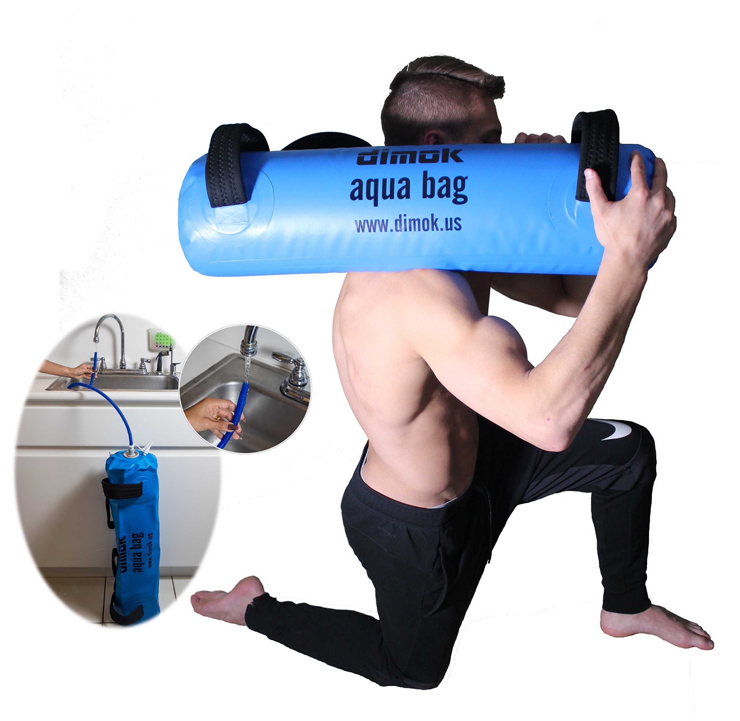 dimok Sandbag Alternative Aqua Bag Training Weight Bag - Adjustable Weights Portable Full Body Workout - Comes with a Foot Pump (45)