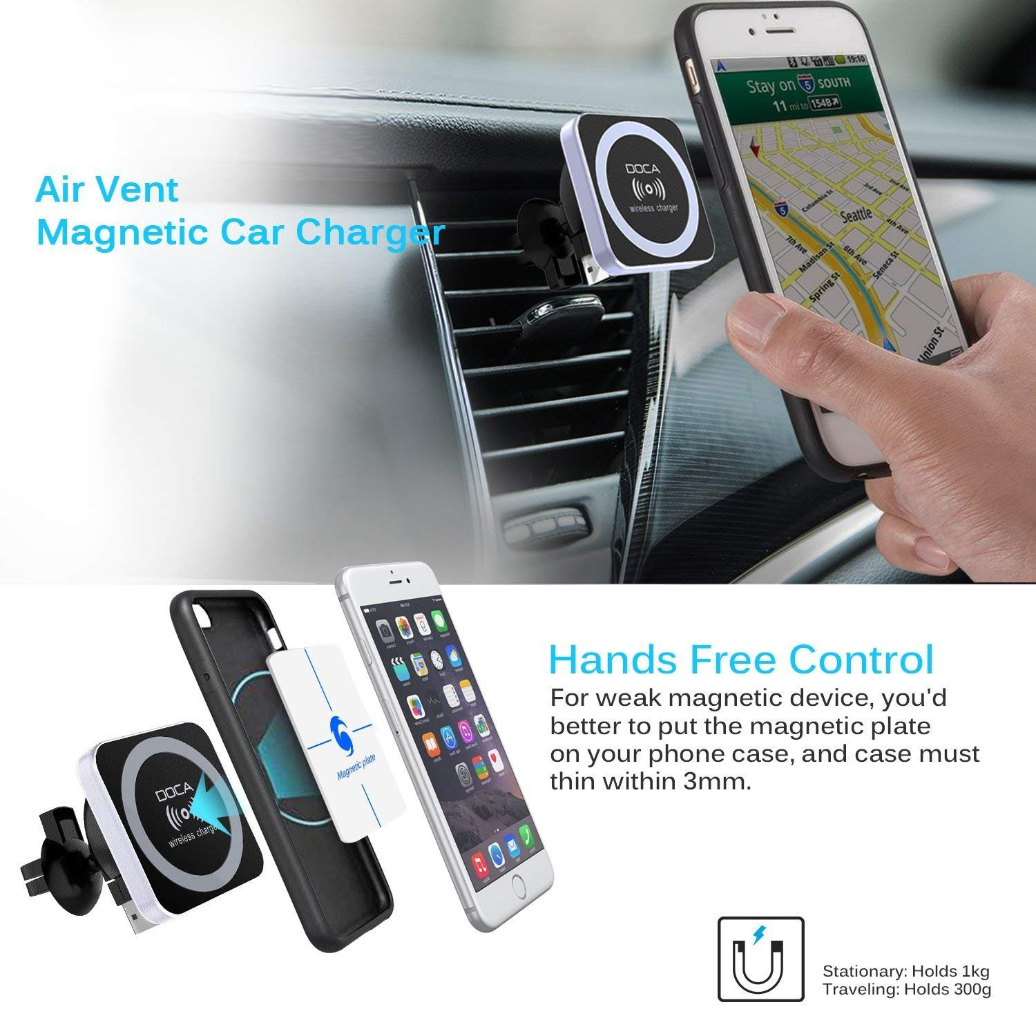 Doca Magnetic Wireless Car Charger Qi Cell Phone Shield With Air Vent Mount Holder For I Xrxsmaxx88p Samsung Galaxy Note 8 S8 Plus