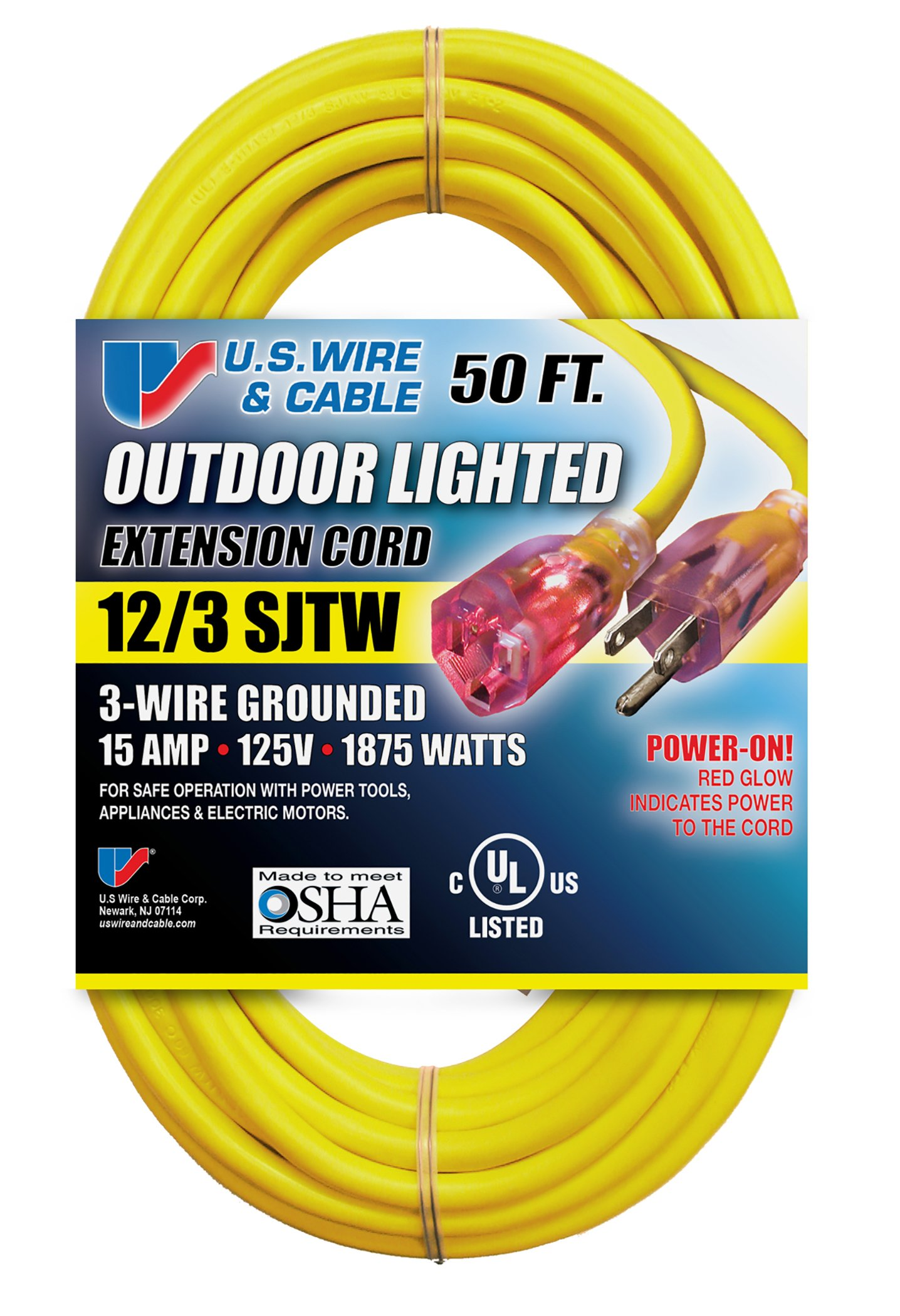 US Wire 74050 12/3 50-Foot SJTW Yellow Heavy Duty Lighted Plug Extension Cord