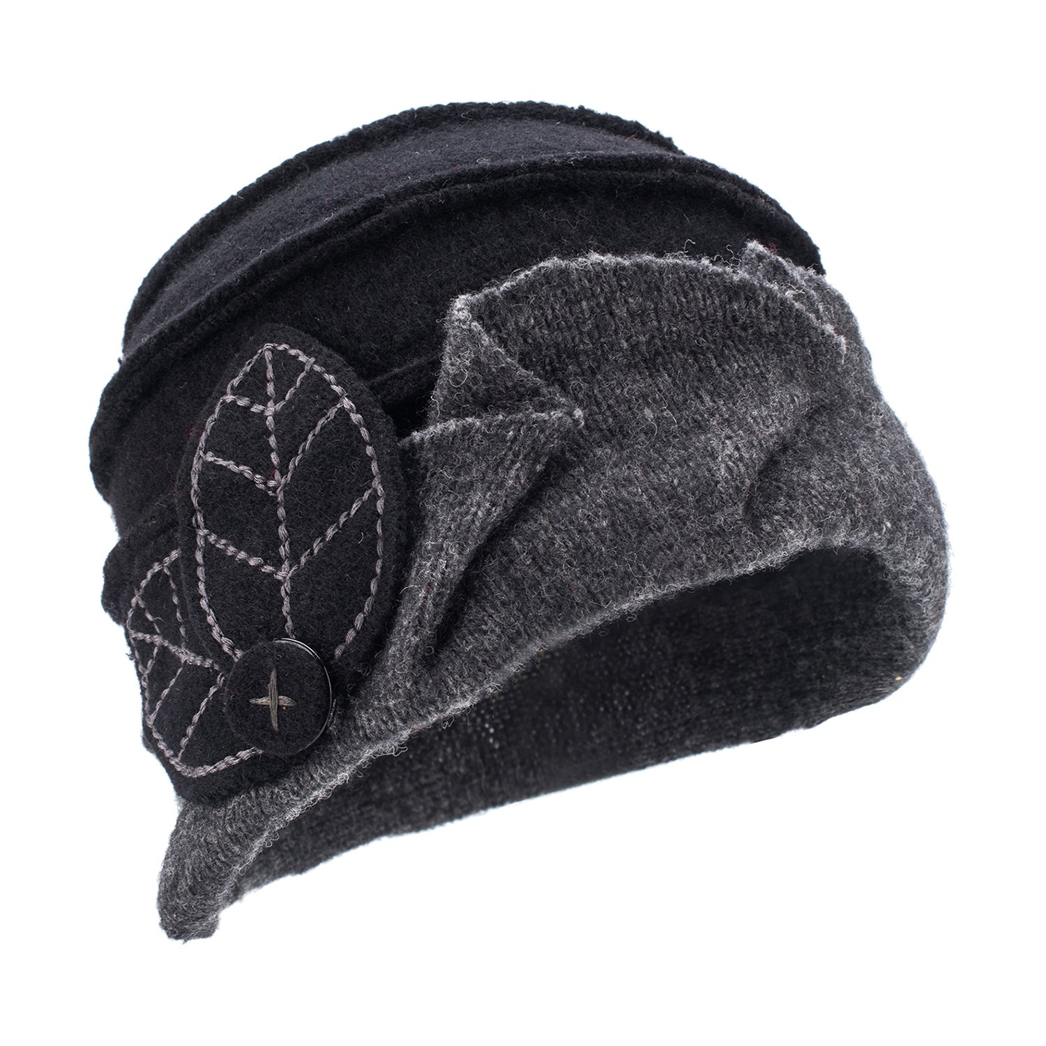 Lawliet Two-Tone Womens Ladies Winter 1920s 100% Wool Leaf Bucket Beret Cap Hat A375 (Black Top Gray Trim)