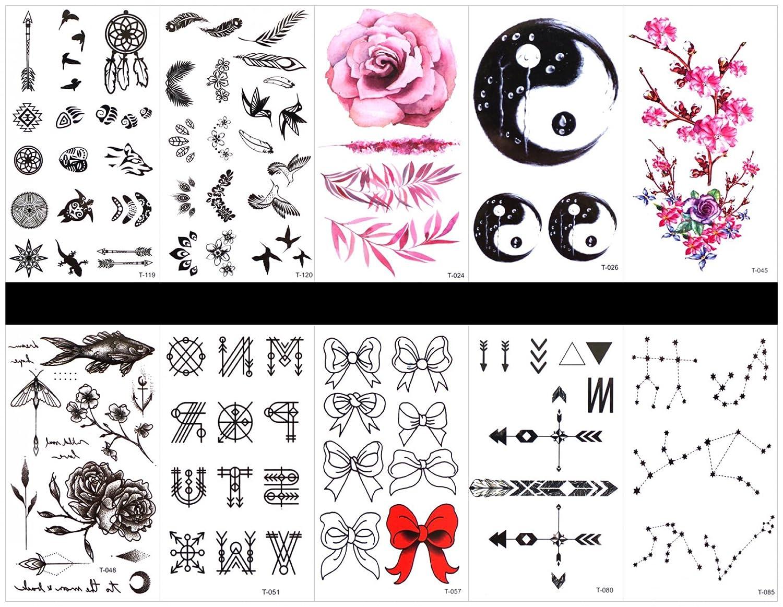 Interookie - 10 pegatinas de tatuaje falsas, tatuajes temporales ...