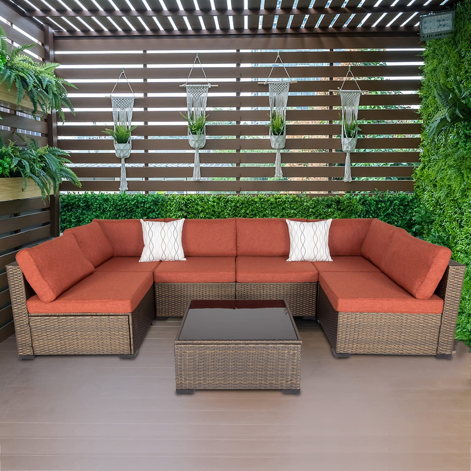 7 Pieces Outdoor Patio Sectional Sofa Set,Brown Wicker Furniture Set, Washable Seat Cushions with Zippers and Tempered Glass Table, Maple Red Cushion