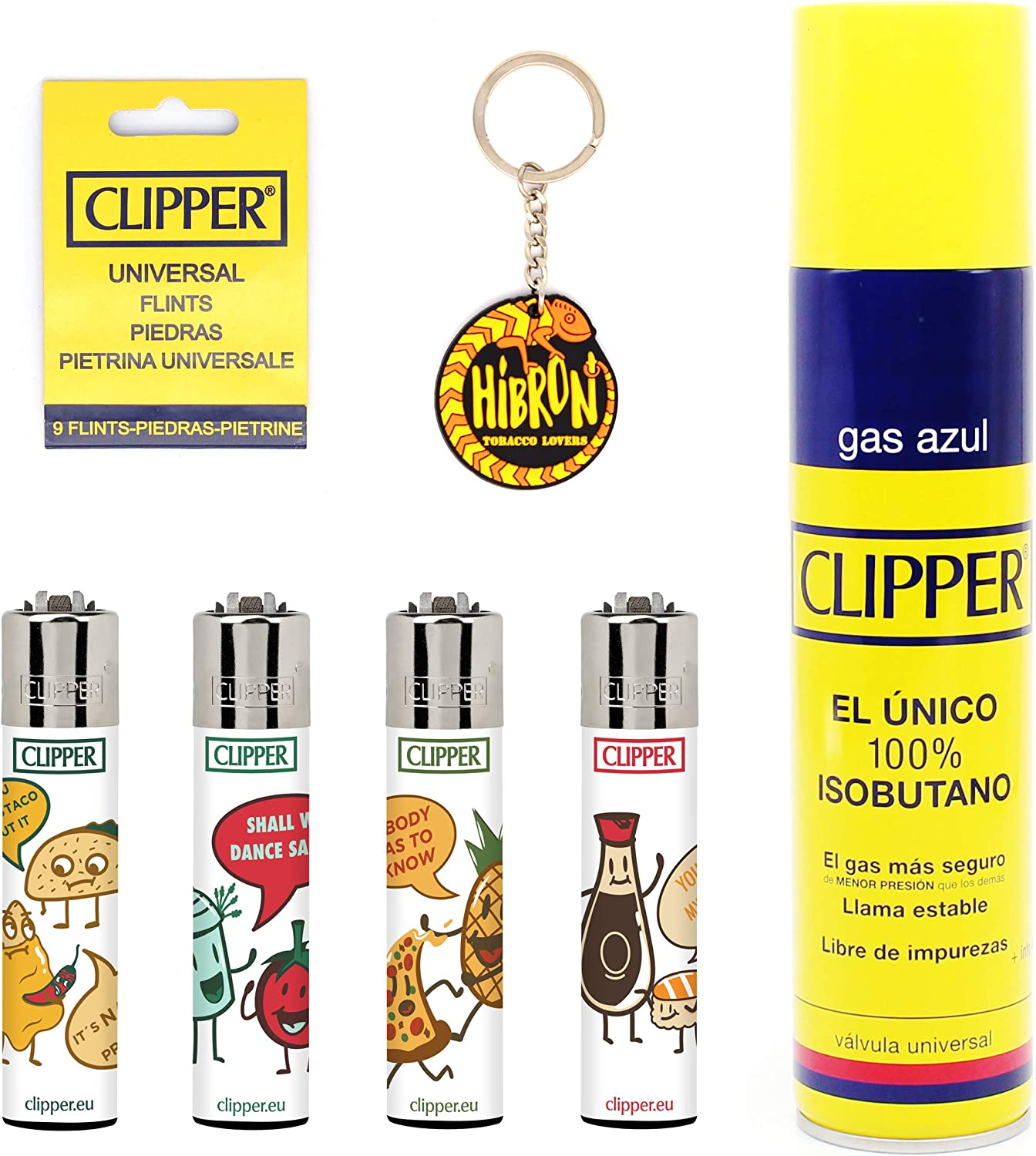 HIBRON Clipper 4 Mecheros Encendedores Diversos Surtidos Bonitos, 1 Carga Gas Encendedor Clipper 300 Ml,9uds De Piedra Clipper Y 1 Llavero Gratis 1-10003-11: Amazon ...