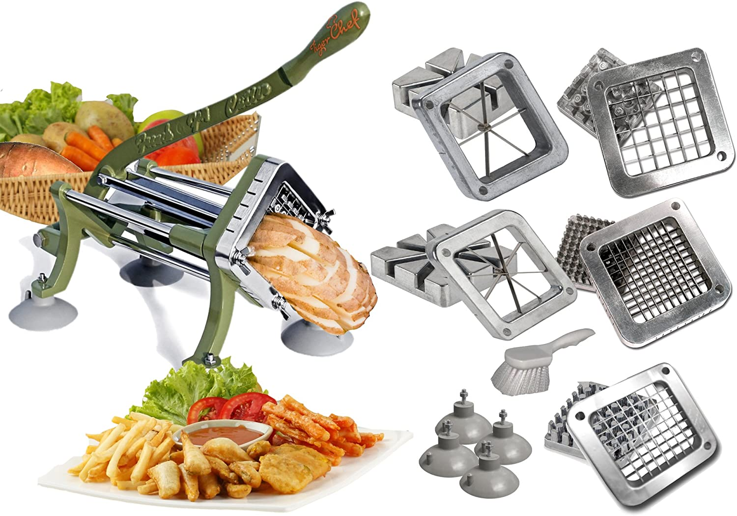 8 Wedge Green Countertop Cast Iron Potato French Fry Cutter Slicer Restaurant