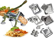 Tiger Chef Heavy Duty Commercial Grade French Fry Cutter with Suction Feet Complete Set - includes 1/4, 3/8, and ½ inch and 6