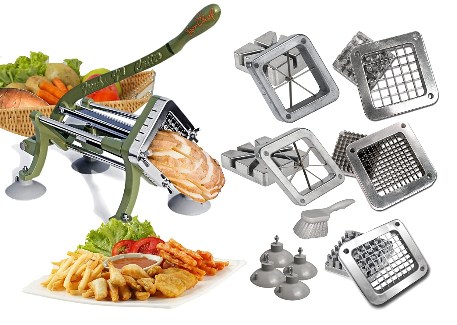 Tiger Chef Heavy Duty Commercial Grade French Fry Cutter with Suction Feet Complete Set - includes 1/4, 3/8, and ½ inch and 6 and 8 Wedge Blade and Pusher Blocks with Suction Feet and Cleaning Brush - Restaurant French Fry Cutter Sweet Potato Fries Complete Combo Set