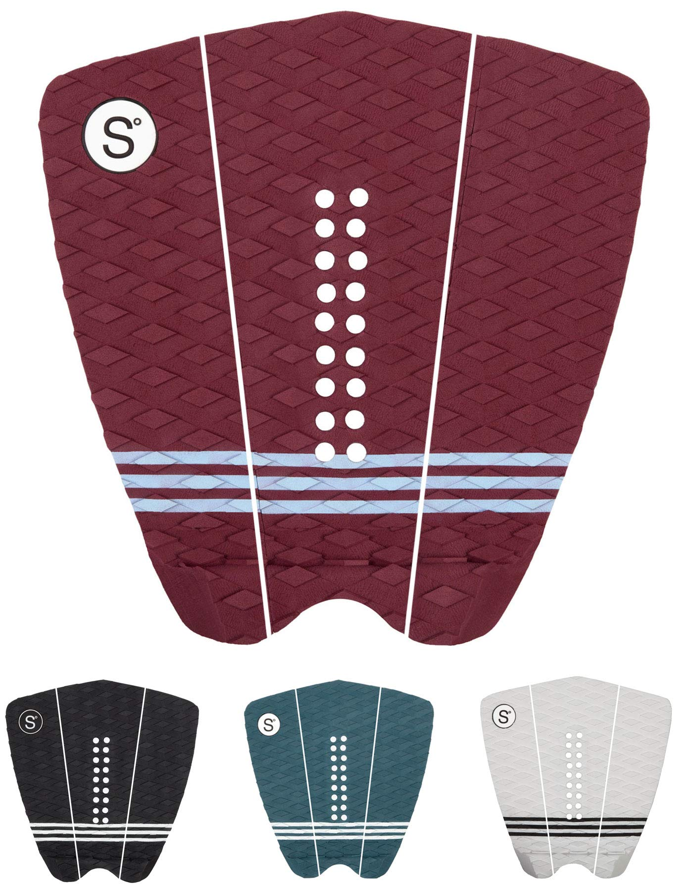 Sympl Surfboard Traction Pad • 3 Pieces • Maximum Grip, 3M Adhesive for Surfboard, Skimboard, Longboard • [Choose Color] (Maroon) by Sympl Supply Co.
