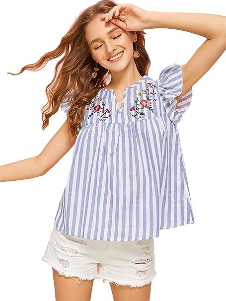 Amazon.com: Romwe - Blusa bohemia de verano de algodón con ...