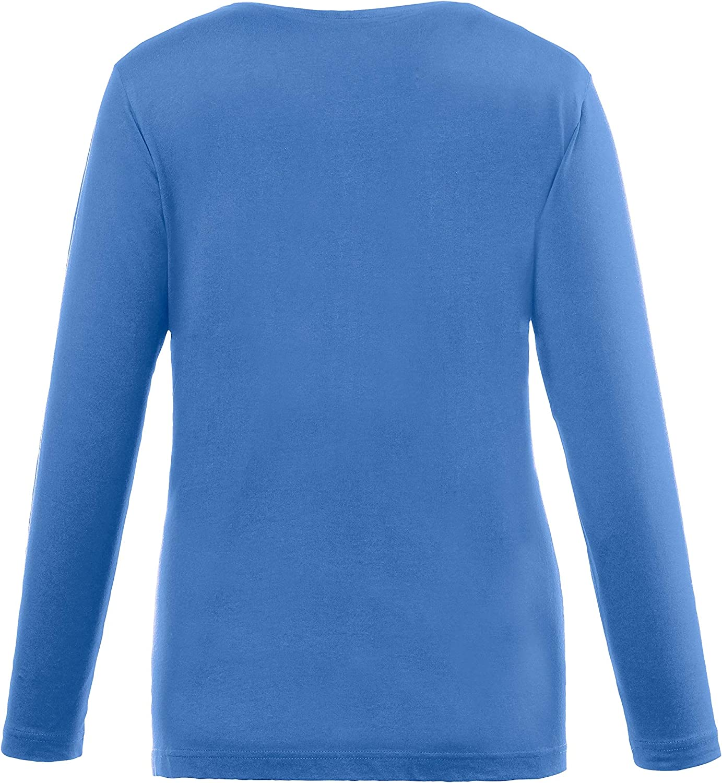 Rundhalsausschnitt Baumwolle Camiseta de Manga Larga para Mujer Ulla Popken Basic-Shirt Slim