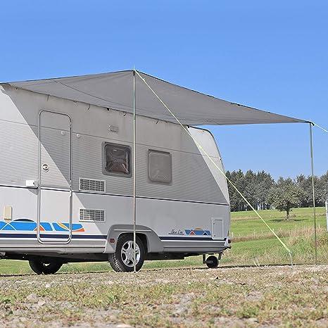 Sonnensegel Für Wohnwagen Wohnmobil Und Bus Grau 2 50 X 2 4 Für Kederleisten 7 Mm Wassersäule 2000 Mm Inkl Aufstellstangen Auto