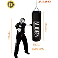 Aurion Rex Leather Unfilled Heavy Punch Bag 2 ft 3ft 4ft 5ft Boxing MMA Sparring Punching Training Kickboxing Muay Thai with Hanging Chain