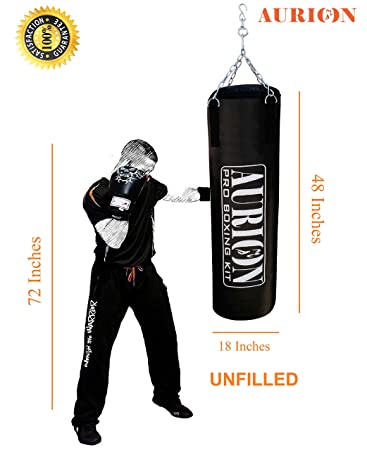 Aurion Rex Leather Unfilled Heavy Punch Bag 2 ft 3ft 4ft 5ft Boxing MMA Sparring Punching Training Kickboxing Muay Thai with Hanging Chain Boxing Heavy Bags at amazon