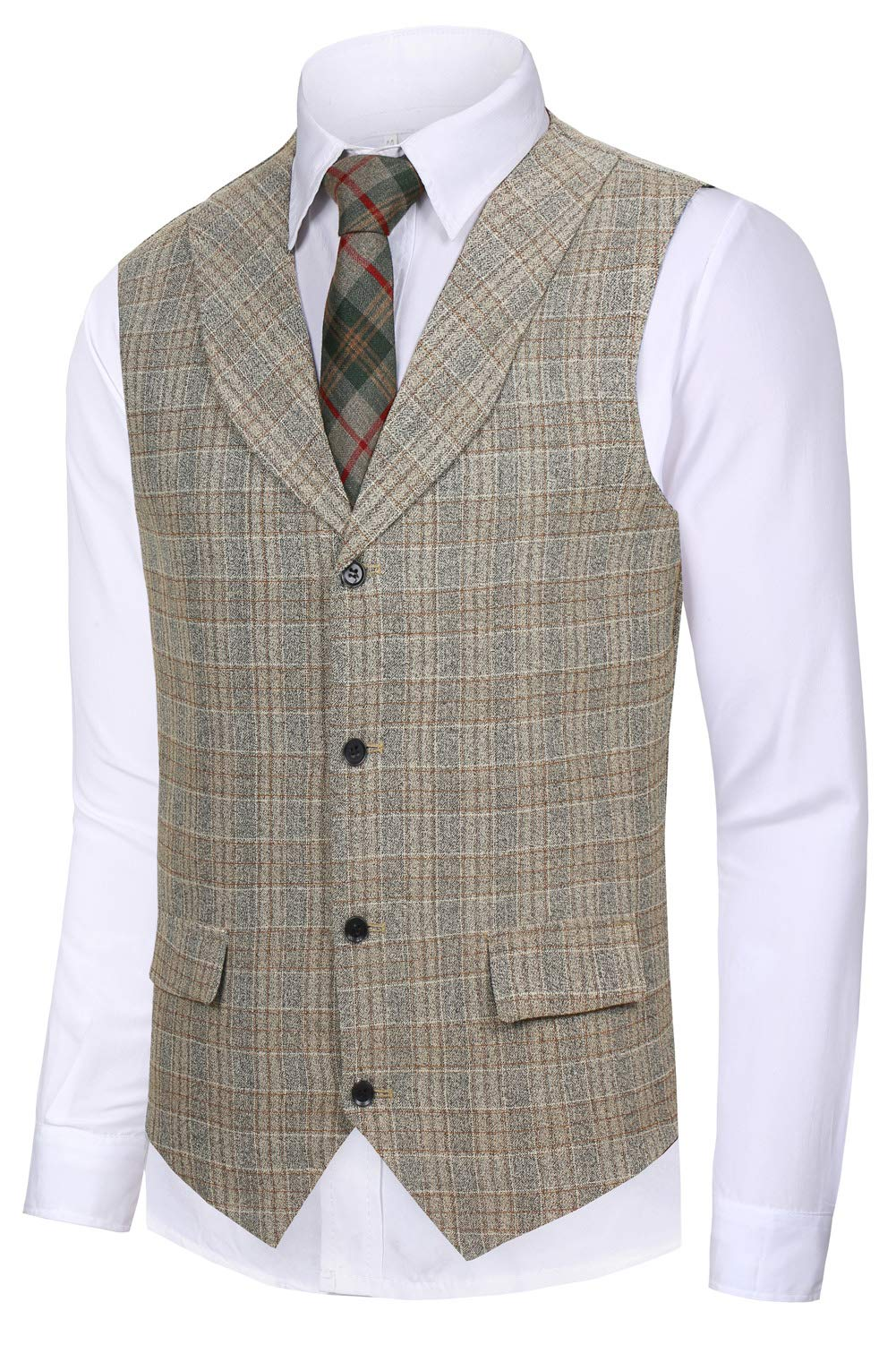 Hanayome Men's British Style Slim Fit Chain Point 4 Button Patry Dress Vest VS09 (Brown, M)