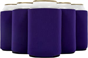 QualityPerfection 12 Purple Can Cooler Sleeves Beer Blank,Coolies Sublimation HTV Insulated,Collapsible Coolers, DIY Customizable for Parties, Events or Weddings, Bulk(12, Purple)