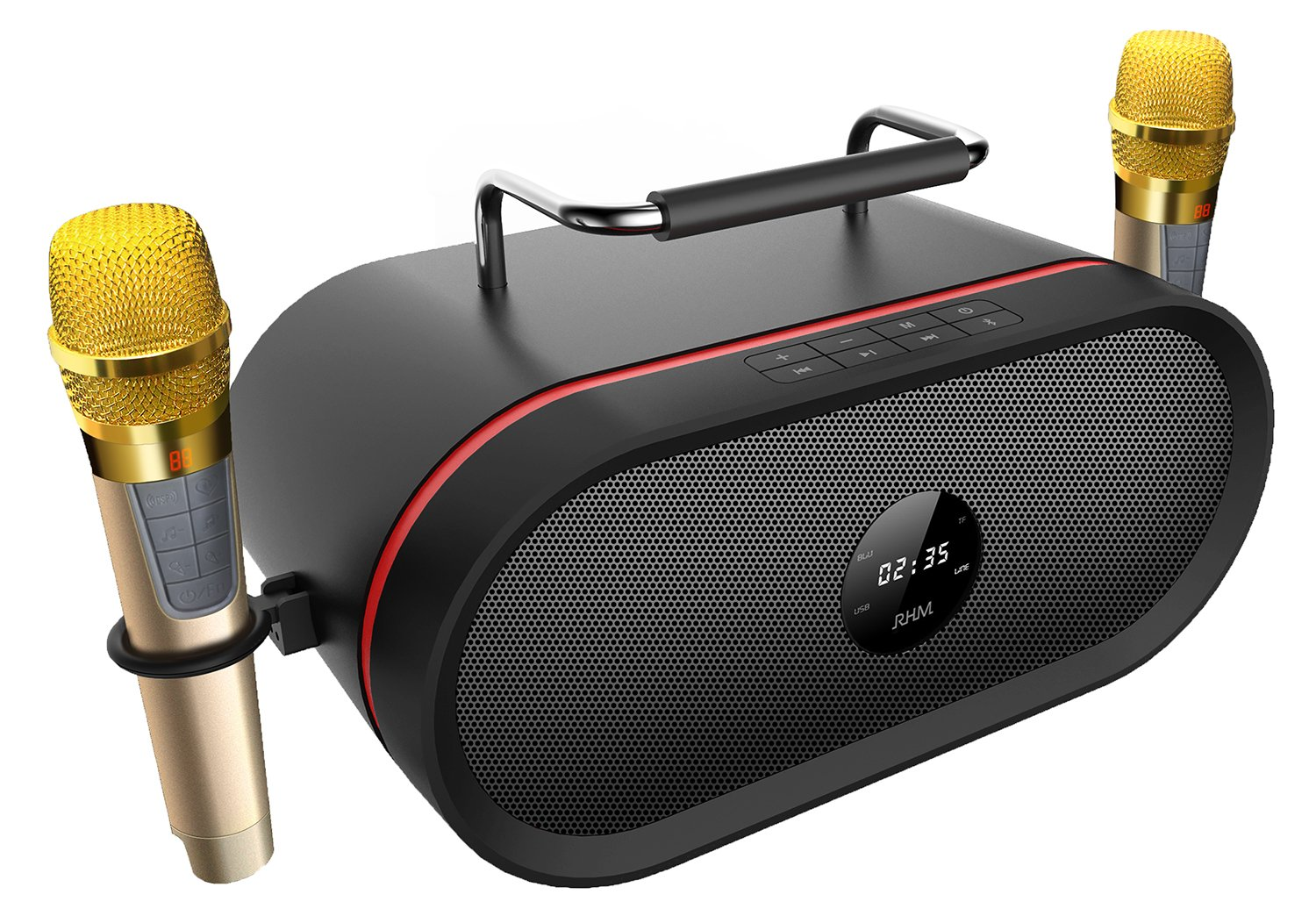 Portable Bluetooth Karaoke Speaker[2018 Upgraded]with 2 Wireless Micphone,RHM Outdoor Smart HD Audio and Enhanced Bass PA Bluetooth Speaker Home Party, Built-in Three-Drive Speakerphone, Bluetooth 4.0